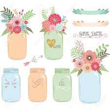 Wedding Flowers Drawing Wedding Flower Mason Jar Hand Draw Set Royalty Free Cliparts