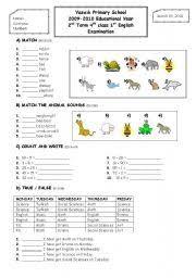 2nd term 4th grade 1st exam paper