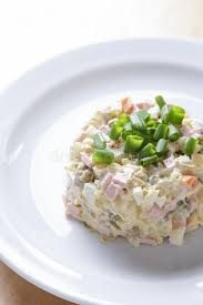 olivier cuisine salad olivier served with stock photo image of