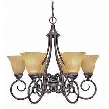 Glass Shade Chandelier Glomar 6 Light Copper Bronze Chandelier With Champagne Linen