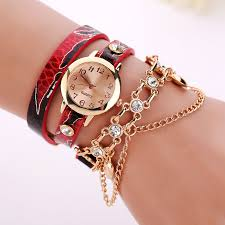 quartz bracelet wrist watches images Woman leather rhinestone rivet chain quartz bracelet wrist watch jpg