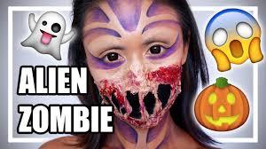 Alien Halloween Makeup by Alien Zombie Halloween Make Up Tutorial Shelingbeauty Youtube
