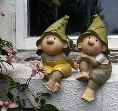 lilly and len elves sitting garden ornament gnome garden