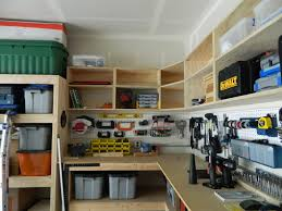 wall shelves design building garage ideas diy garage cabinets make your look cooler wooden material cabinet top two tiered building