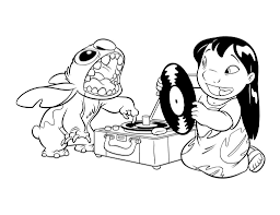 lilo and stitch coloring pages play music coloringstar