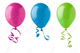 ribbon streamers three party balloons in bright colours of pink blue and green