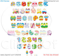 themed letters clipart of colorful patterned easter themed alphabet letters