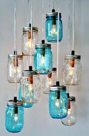Glass Jar Pendant Light Blue Mason Jar Pendant Light Mason Jars Into Beautiful Chandelier