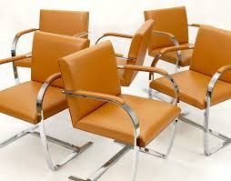 Leather Chairs Mies Van Der Rohe Six Cognac Brno Leather Chairs By Ludwig Mies