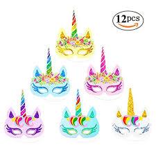 unicorn party supplies rainbow unicorn paper masks kids birthday unicorn party favors 12