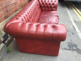 Small Chesterfield Sofa by Leather Sofa And Chair Burgundy Good Condition Of Idolza