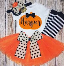 Girls Pumpkin Halloween Costume Baby Boutique Halloween Hair Bows Tutus Costumes U0026
