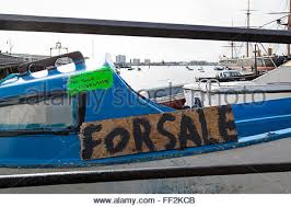 Boat A Home Wooden Painted For Sale Sign On Granite Wall In Cornwall Credit