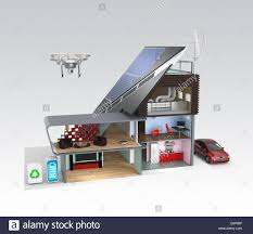 smart house with energy efficient appliances monitoring by smart