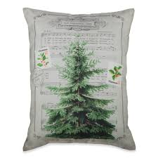 vintage decor carol and tree throw pillow