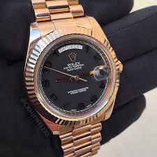 rolex day date ii gold president black arabic crm jewelers