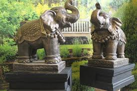 ornate elephants and plinths pair garden ornament statues