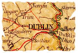 Ireland On Map Dublin Ireland On An Old Torn Map From 1949 Isolated Part