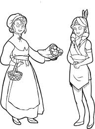 Thanksgiving Pilgrims And Indians Free Printable Pilgrim And Indian Coloring Page For Kids 2