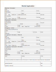 rental application form word excel templates