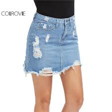 denim skirt colrovie casual high waist denim skirt blue light wash women