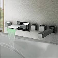 bathtub faucet wall mount aquafaucet 5pcs led colors waterfall bathroom tub faucet wall