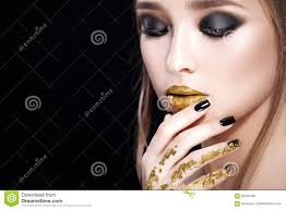 Professional Makeup Beauty Woman Portrait Professional Makeup And Manicure With Gold