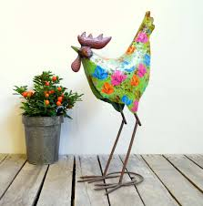 metal garden ornaments hen goose flamingo or peacock by the