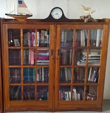 restoration hardware mission style double bookcase in core