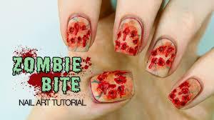 zombie bite halloween sfx nail art tutorial youtube