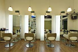 best hair salon interior design in the world with staircase and purple color schemes