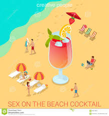 on the beach cocktail glass flat 3d isometric vector stock