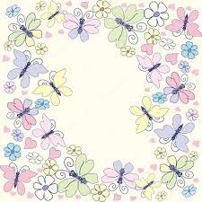 decorative frame with raznotsventymi butterflies flowers and