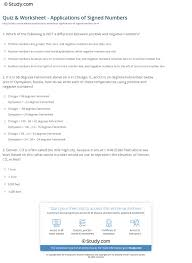 quiz u0026 worksheet applications of signed numbers study com