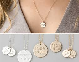 custom necklace charms coordinates necklace custom gps location necklace dainty
