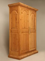 Solid Pine Wardrobes Rustic Vintage Solid Pine Armoire Or Cupboard W Raised Panels And