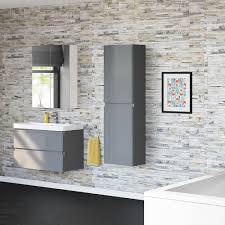 1400 mm tall grey bathroom furniture cupboard soft close cabinet