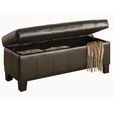 storage ottoman bench seat faux leather lift top foot stool