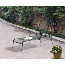 Outdoor Chaise Lounges Mainstays Jefferson Wrought Iron Chaise Lounge Black Walmart Com