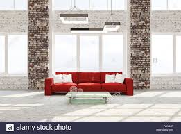 Living Room Red Sofa by Modern Interior Of Living Room With Brick Columns Concrete Floor