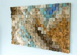 wood wall mosaic office wall decor geometric 24 x 36