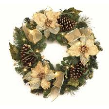 pre lit wreath 45cm pre lit gold poinsettia wreath with warm white battery