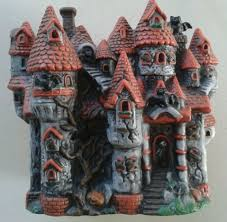 halloween ceramic haunted house electric light up halloween
