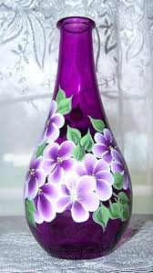 How To Paint A Flower Vase One Stroke Painted Wine Bottle Flower Arrangement Glass Painting