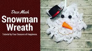 how to make a snowman deco mesh wreath simple snowman deco mesh