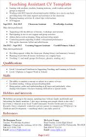 Special Education Teacher Job Description Resume by Teaching Assistant Cv Template Tips And Download U2013 Cv Plaza