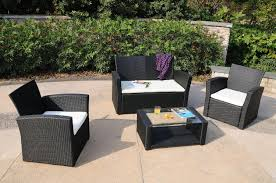 Wicker Patio Table Set Sunnydaze Adelaide 4 Rattan Patio Furniture Set Wicker