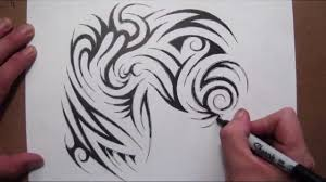 drawing a tribal half sleeve and chest piece tattoo design youtube
