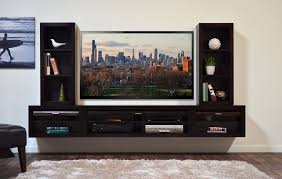 wide screen tv on gray bead board wall combined with wooden