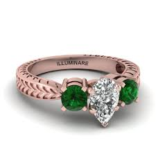 carved engagement rings antique pear diamond 3 engagement ring with emerald in 14k